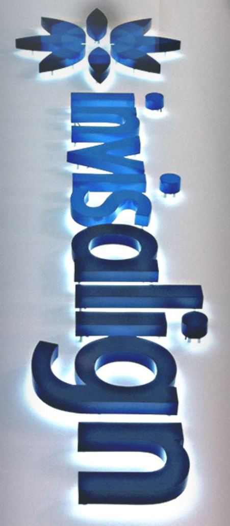 Invisalign logo upside down neon sign