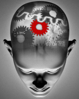 Brain activity portrayed in image of head